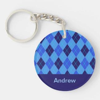 Personalized monogram A boys name blue argyle Double-Sided Round Acrylic Keychain