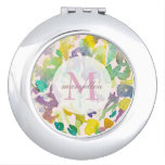 Personalized Monogram Abstract Floral Compact Makeup Mirror