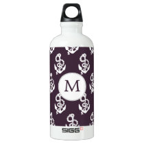 Personalized Monogram Amethyst Anchor Nautical pat Aluminum Water Bottle