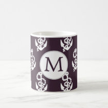 Personalized Monogram Amethyst Anchor Nautical pat Coffee Mug