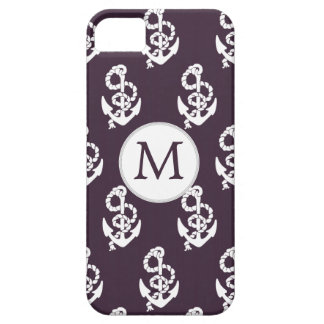 Personalized Monogram Amethyst Anchor Nautical pat iPhone SE/5/5s Case