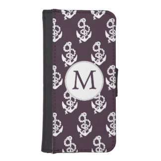 Personalized Monogram Amethyst Anchor Nautical pat iPhone SE/5/5s Wallet Case