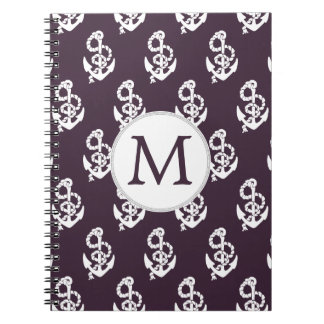 Personalized Monogram Amethyst Anchor Nautical pat Notebook