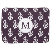 Personalized Monogram Amethyst Anchor Nautical pat Receiving Blanket