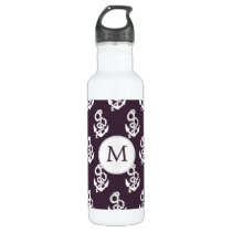 Personalized Monogram Amethyst Anchor Nautical pat Stainless Steel Water Bottle