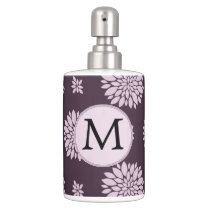 Personalized Monogram Amethyst Floral Pattern Bath Set