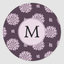 Personalized Monogram Amethyst Floral Pattern Classic Round Sticker