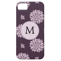 Personalized Monogram Amethyst Floral Pattern iPhone SE/5/5s Case