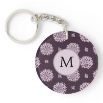 Personalized Monogram Amethyst Floral Pattern Keychain