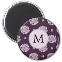 Personalized Monogram Amethyst Floral Pattern Magnet