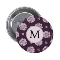 Personalized Monogram Amethyst Floral Pattern Pinback Button