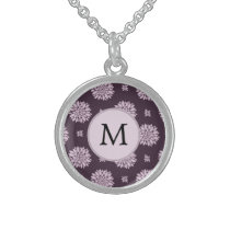 Personalized Monogram Amethyst Floral Pattern Sterling Silver Necklace