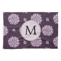 Personalized Monogram Amethyst Floral Pattern Towel