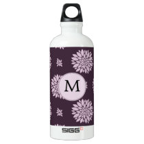 Personalized Monogram Amethyst Floral Pattern Water Bottle