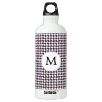 Personalized Monogram Amethyst Houndstooth Patter Aluminum Water Bottle