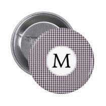 Personalized Monogram Amethyst Houndstooth Patter Button