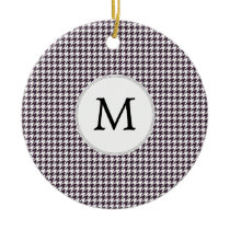 Personalized Monogram Amethyst Houndstooth Patter Ceramic Ornament