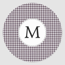 Personalized Monogram Amethyst Houndstooth Patter Classic Round Sticker