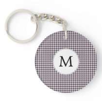 Personalized Monogram Amethyst Houndstooth Patter Keychain