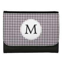 Personalized Monogram Amethyst Houndstooth Patter Leather Wallets