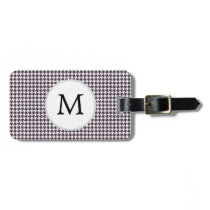 Personalized Monogram Amethyst Houndstooth Patter Luggage Tag