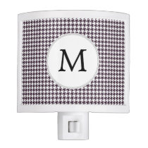 Personalized Monogram Amethyst Houndstooth Patter Night Light