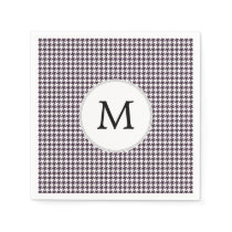 Personalized Monogram Amethyst Houndstooth Patter Paper Napkin