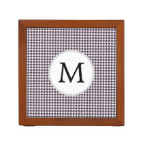 Personalized Monogram Amethyst Houndstooth Patter Pencil Holder