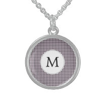 Personalized Monogram Amethyst Houndstooth Patter Sterling Silver Necklace
