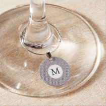 Personalized Monogram Amethyst Houndstooth Patter Wine Charm