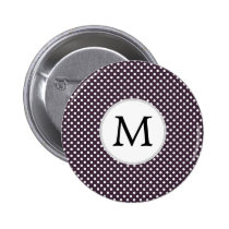 Personalized Monogram Amethyst Polka Dots Pattern Button