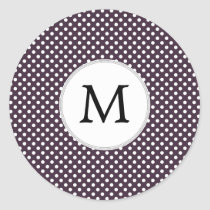 Personalized Monogram Amethyst Polka Dots Pattern Classic Round Sticker