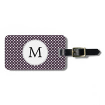 Personalized Monogram Amethyst Polka Dots Pattern Luggage Tag