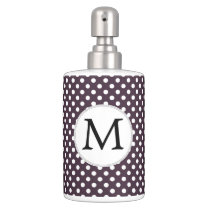 Personalized Monogram Amethyst Polka Dots Pattern Soap Dispenser And Toothbrush Holder