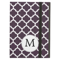 Personalized Monogram Amethyst Quatrefoil Pattern iPad Air Cases