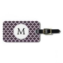 Personalized Monogram Amethyst Quatrefoil Pattern Luggage Tag