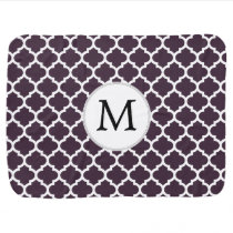 Personalized Monogram Amethyst Quatrefoil Pattern Receiving Blanket