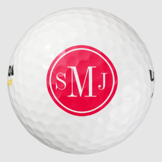 Personalized Monogram and American Rose Frame Golf Balls