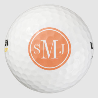 Personalized Monogram and Atomic Orange Frame Golf Balls