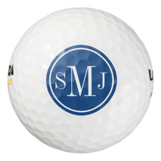Personalized Monogram and Classic Blue Frame Golf Balls