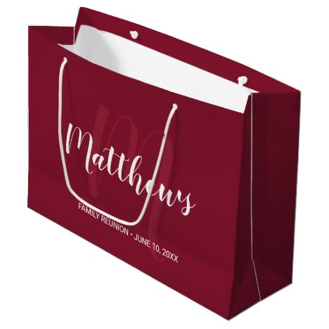 Personalized Monogram and Family Name Burgundy Red Large Gift Bag