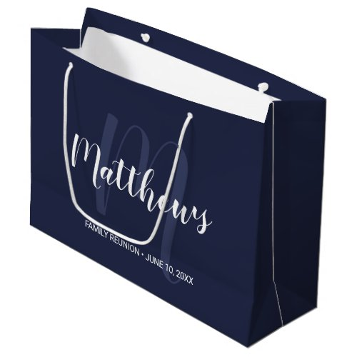 Personalized Monogram and Family Name Navy Blue Large Gift Bag