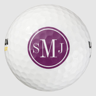 Personalized Monogram and Magenta Purple Frame Pack Of Golf Balls