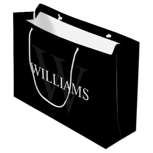 Personalized Monogram and Name Black Large Gift Bag