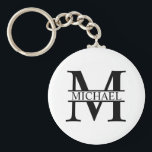"""Personalized Monogram and Name Keychain<br><div class=""""desc"""">Personalized Monogram and Name Gifts featuring personalized monogram and name in classic serif font style.  Perfect as father's day gifts for dad,  gifts for grandfather,  husband,  groom,  best man,  groomsmen and more.</div>"""