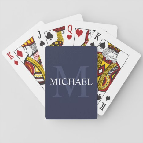 Personalized Monogram and Name Navy Blue Playing Cards