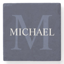 Personalized Monogram and Name Navy Blue Stone Coaster