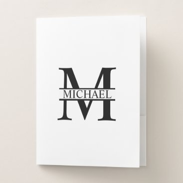 Beach Themed Personalized Monogram and Name Pocket Folder