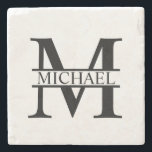 """Personalized Monogram and Name Stone Coaster<br><div class=""""desc"""">Personalized Monogram and Name Gifts featuring personalized monogram in classic serif font style with box of name in the middle of monogram.  Perfect as home decors,  housewarming gifts,  holiday gifts for family,  newlyweds and more.</div>"""