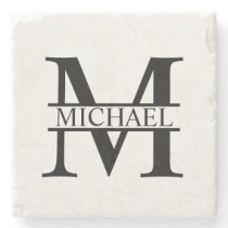 Personalized Monogram and Name Stone Coaster